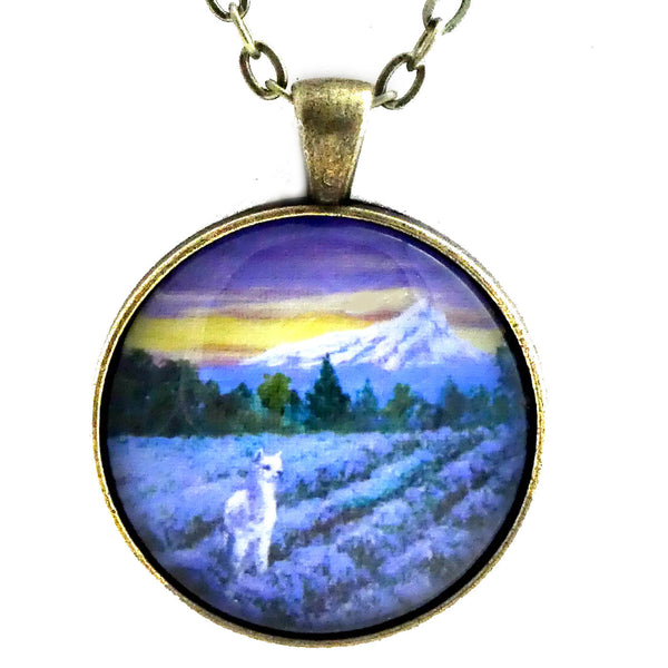 White Alpaca in a Lavender Field Handmade Pendant Laura Milnor Iverson Official Site