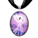 Angel in Amethyst Starlight Handmade Art Pendant