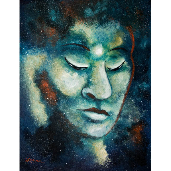 Star Buddha of Teal Tranquility Original Painting - Laura Milnor Iverson Official Site