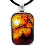 Golden Afternoon Meditation Handmade Rectangle Pendant on Zen Cord