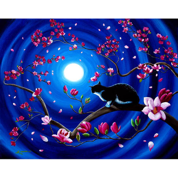 Tuxedo Cat In A Japanese Magnolia Tree Original Painting - Laura Milnor Iverson Official Site