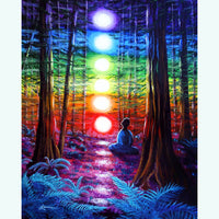 Chakra Meditation In The Redwoods Original Painting - Laura Milnor Iverson Official Site
