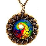"Om Tree of Life Meditation Large Pendant on 24"" Chain Necklace"