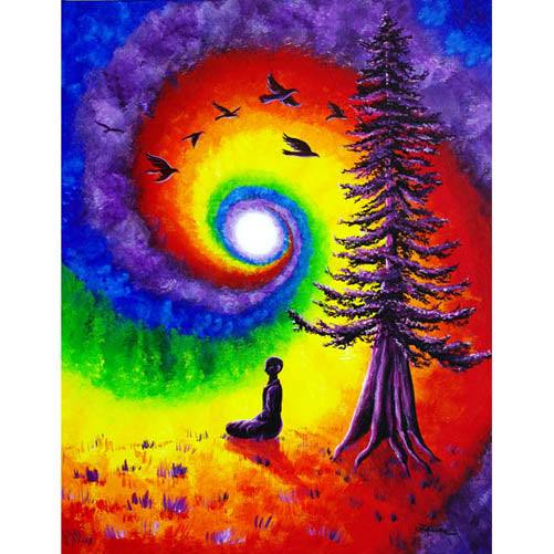 Evening Chakra Meditation Original Painting - Laura Milnor Iverson Official Site