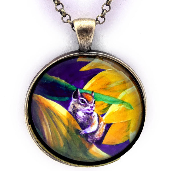 Chipmunk in Sunflowers Handmade Pendant