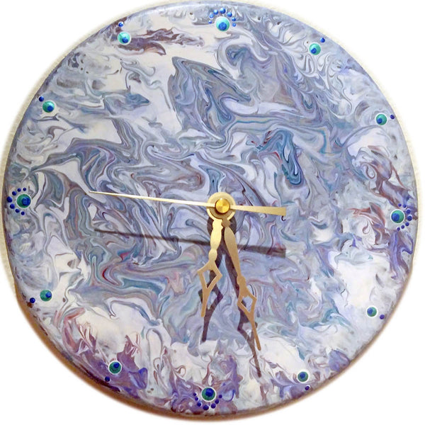 Original Painted 8 Inch Wall Clock Abalone Swirl