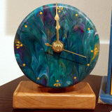 Original Painted 4 Inch Wall Clock Peacock Colors - Optional Stand