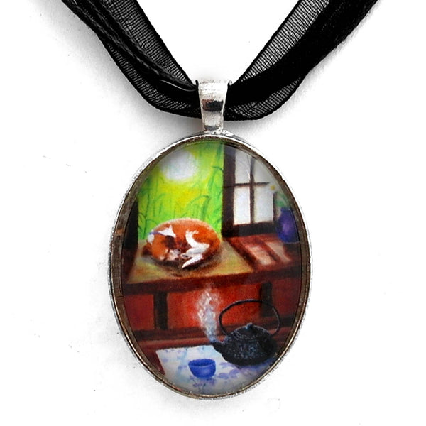 Spring Morning Tea Handmade Pendant