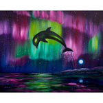 Dolphin Playing in Northern Lights Original Painting - Laura Milnor Iverson Official Site