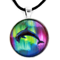 Dolphin Playing in Northern Lights Handmade Pendant