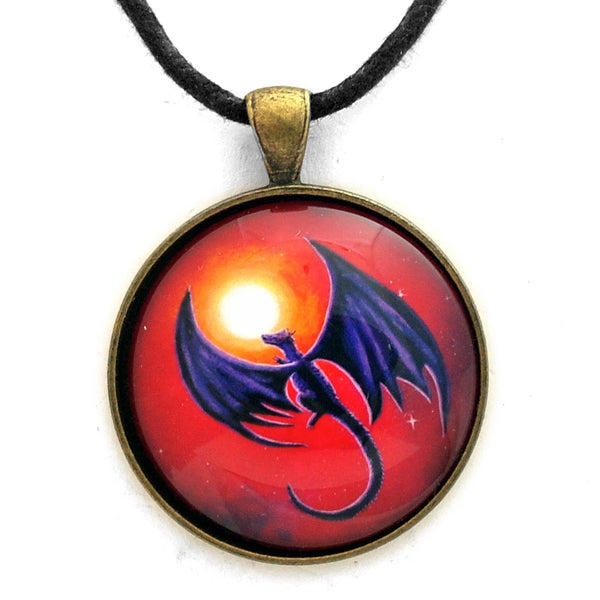Black Dragon In A Red Sky Handmade Pendant