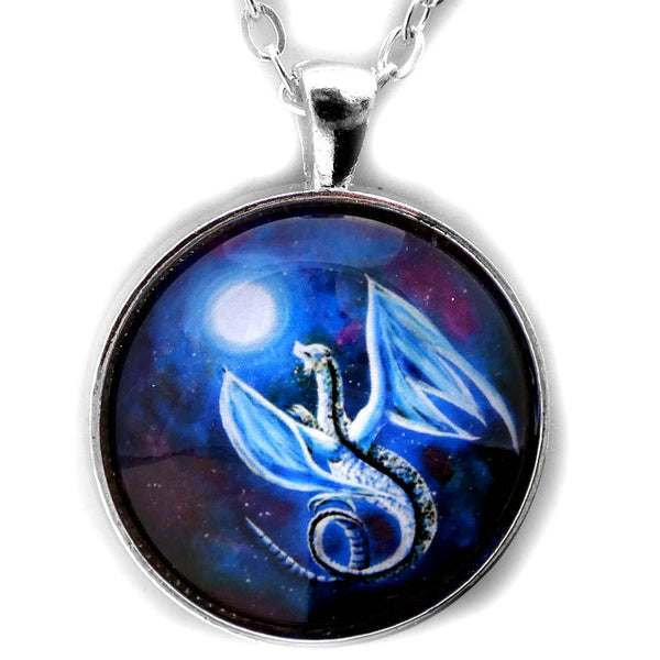 White Dragon In Midnight Blue Round Pendant