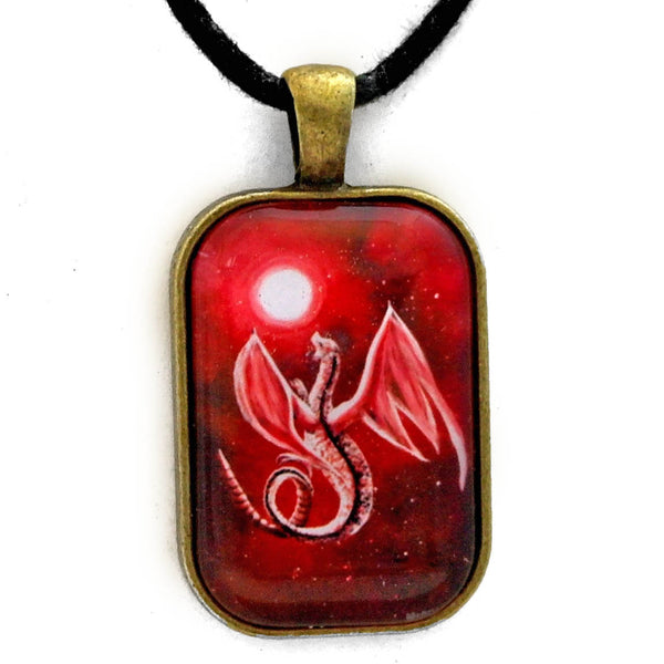 White Dragon In Red Moonlight Handmade Rectangle Pendant Laura Milnor Iverson Official Site