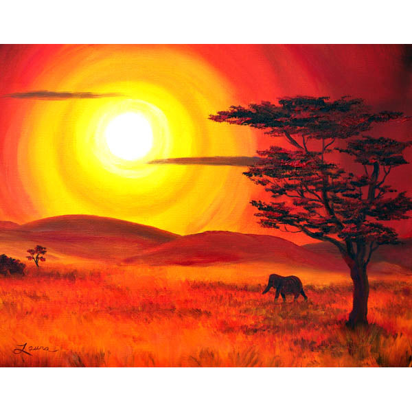 Elephant In A Bright Sunset Original Painting - Laura Milnor Iverson Official Site