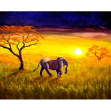 Elephant in Purple Twilight Original Painting