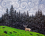 Elk Under Swirling Gray Clouds Original Painting