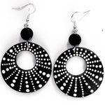 Black and White Hoop Earrings Original Dot Painting on Wood Laura Milnor Iverson