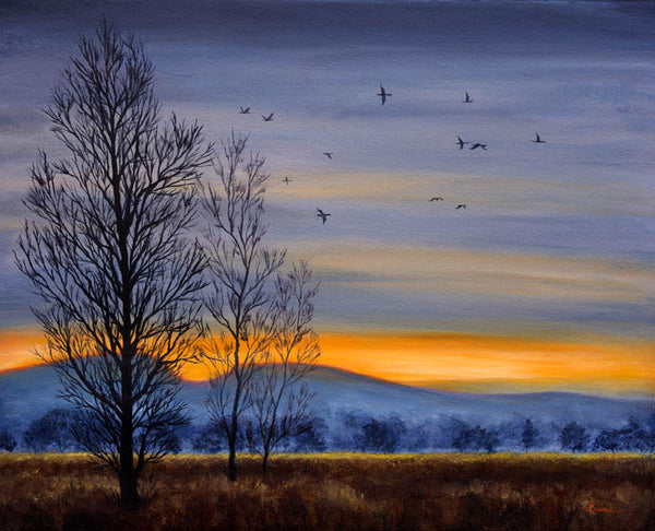 Winter Light over a Meadow Original Painting Laura Milnor Iverson Official Site