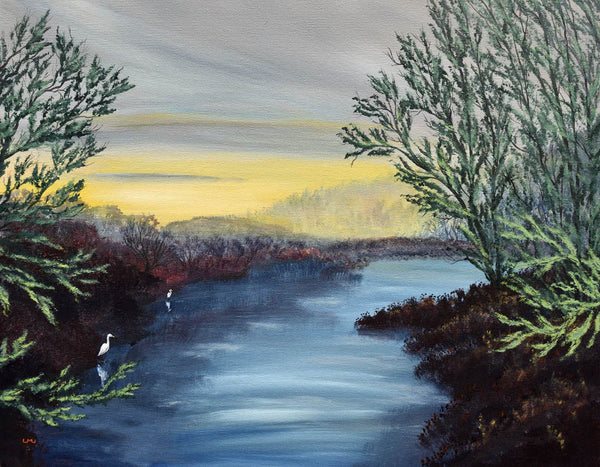 Egrets in Wetlands Original Painting Laura Milnor Iverson Official Site