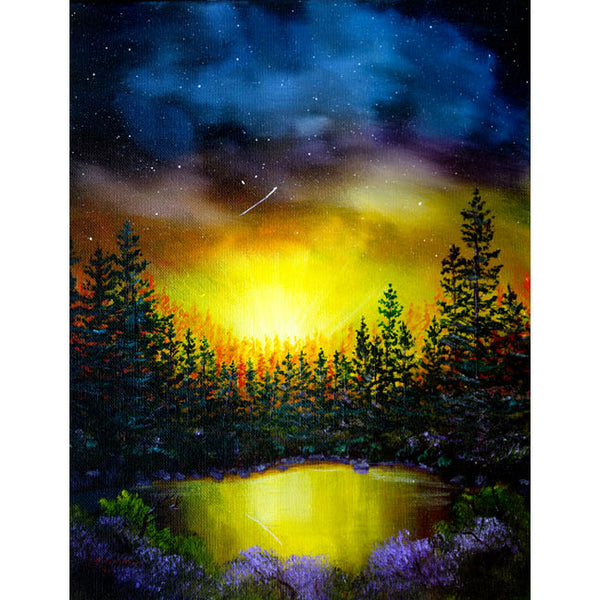 Forest Lake In Twilight Original Painting - Laura Milnor Iverson Official Site