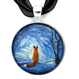Red Fox in Blue Cypress Grove Handmade Round Pendant