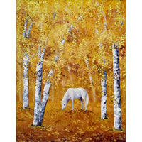 White Horse In Golden Woods Original Painting - Laura Milnor Iverson Official Site