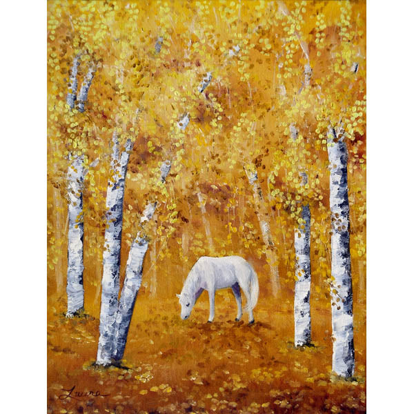 White Horse In Golden Woods Original Painting