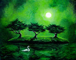 Swan In An Emerald Lake Original Painting