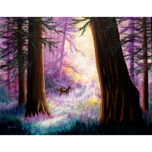 Morning Light Deep in the Redwoods Original Painting - Laura Milnor Iverson Official Site