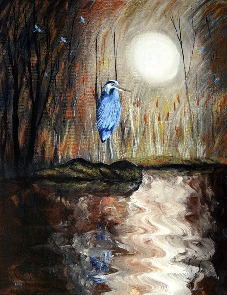 Great Blue Heron and Dragonflies Original Painting Laura Milnor Iverson Official Site