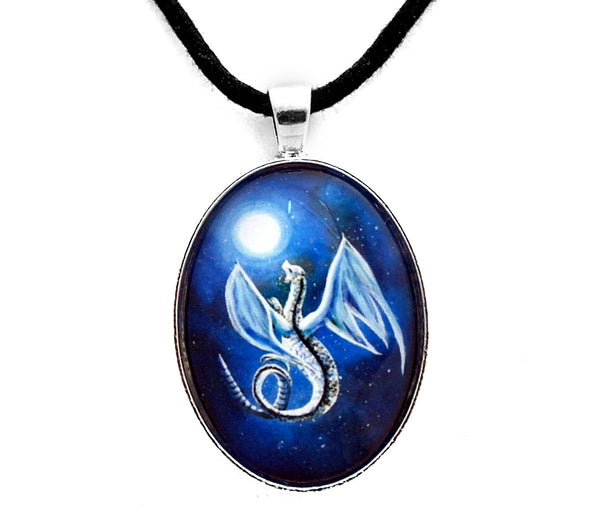 White Dragon In Midnight Blue Oval Pendant