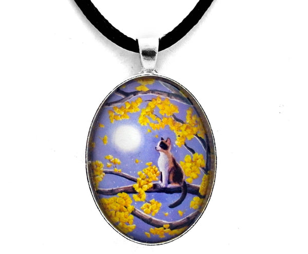 Snowshoe Siamese Kitten in Gingko Leaves Handmade Pendant Laura Milnor Iverson Official Site