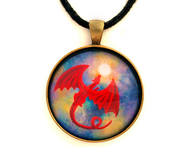 Velvet Red Dragon in Cosmic Moonlight Handmade Pendant Laura Milnor Iverson Official Site
