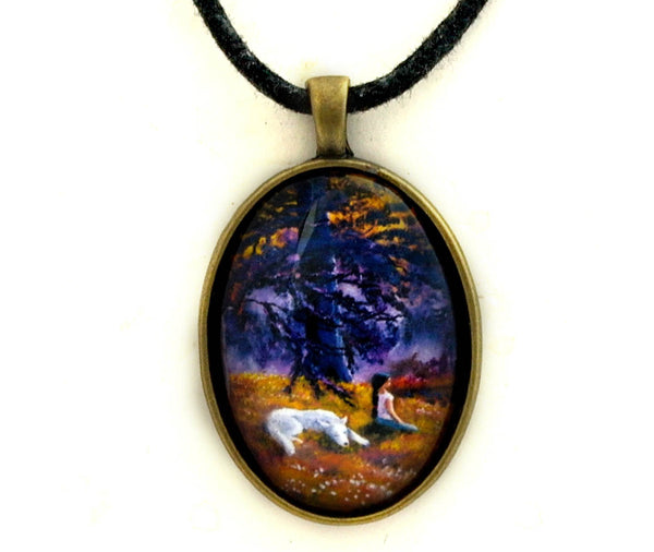 White Wolf Meditation Handmade Pendant Laura Milnor Iverson Official Site