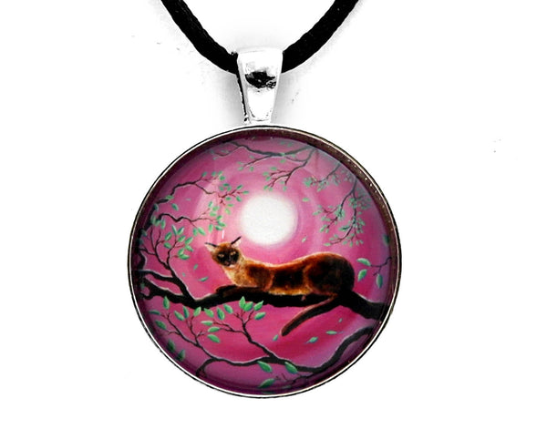 Chocolate Burmese Cat in Dancing Leaves Handmade Pendant