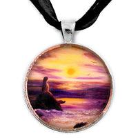 Mermaid in Purple Sunset Handmade Pendant