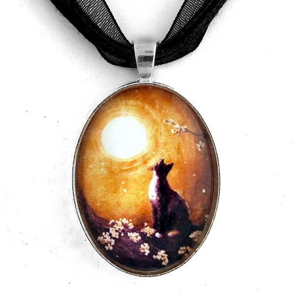 Tuxedo Cat in Golden Cherry Blossoms Handmade Pendant Laura Milnor Iverson Official Site