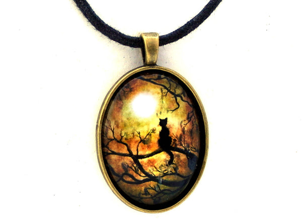 Black Cat and Full Moon Handmade Oval Pendant - Bronze Tone Setting
