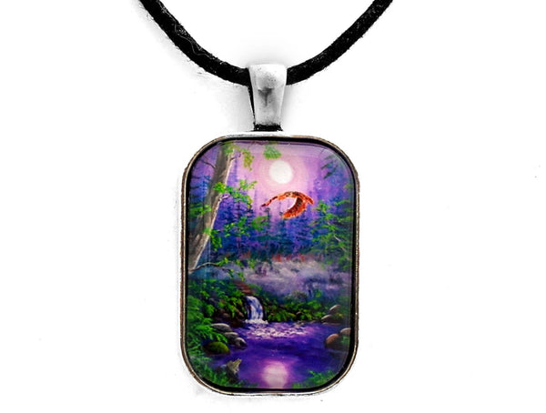 Luna's Flight Handmade Rectangle Pendant Laura Milnor Iverson Official Site