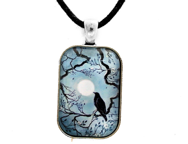Raven in Denim Blue Handmade Pendant