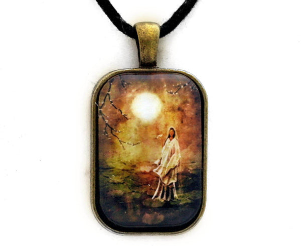 Quan Yin in a Lotus Pond Handmade Rectangle Pendant