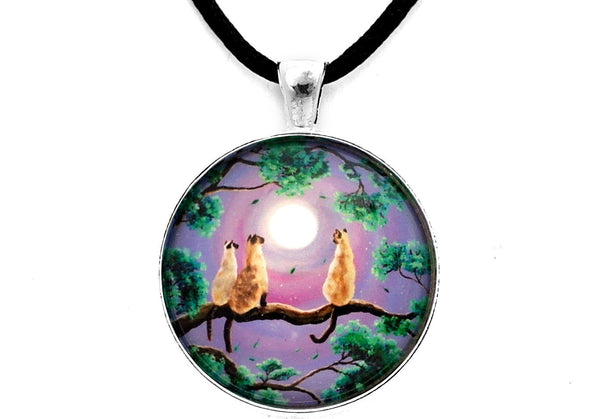 Three Siamese Cats In Moonlight Handmade Pendant