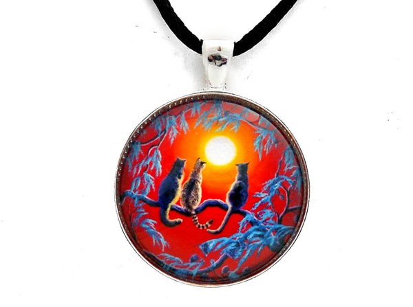Three Cats In A Bright Red Sunset Handmade Pendant