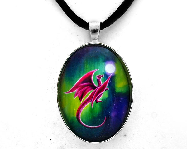 Dragon Soaring through the Northern Lights Handmade Pendant Laura Milnor Iverson Official Site