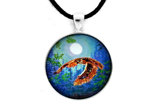 Luna Flying in Blue Moonlight Handmade Pendant