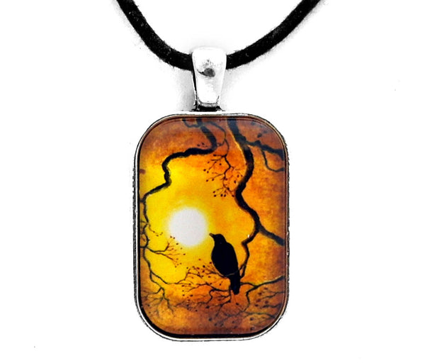 Crow in Topaz Sunset Handmade Rectangle Pendant