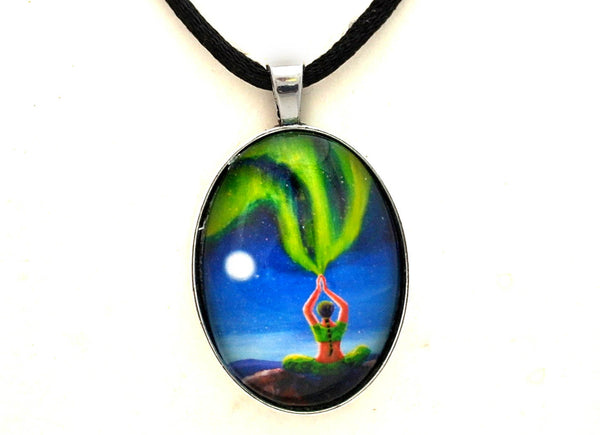 Green Tara Creating The Aurora Borealis Handmade Pendant