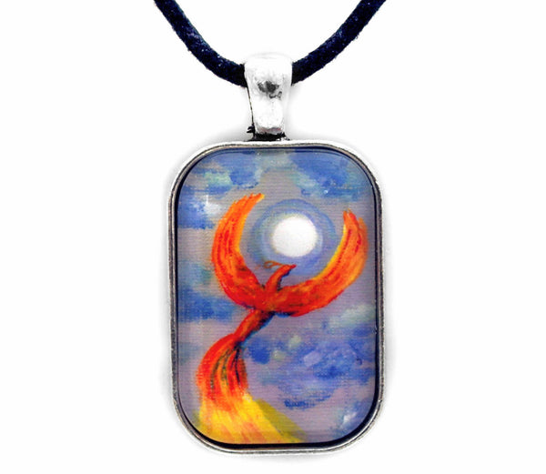 Phoenix Rising in Denim Blue Moonlight Handmade Rectangle Pendant