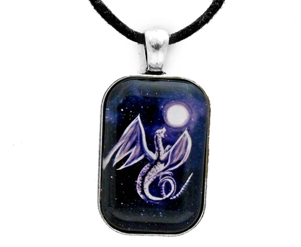 White Dragon In Midnight Blue Handmade Rectangle Pendant