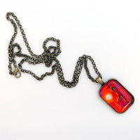 Red Tara Yoga Goddess Handmade Rectangle Pendant